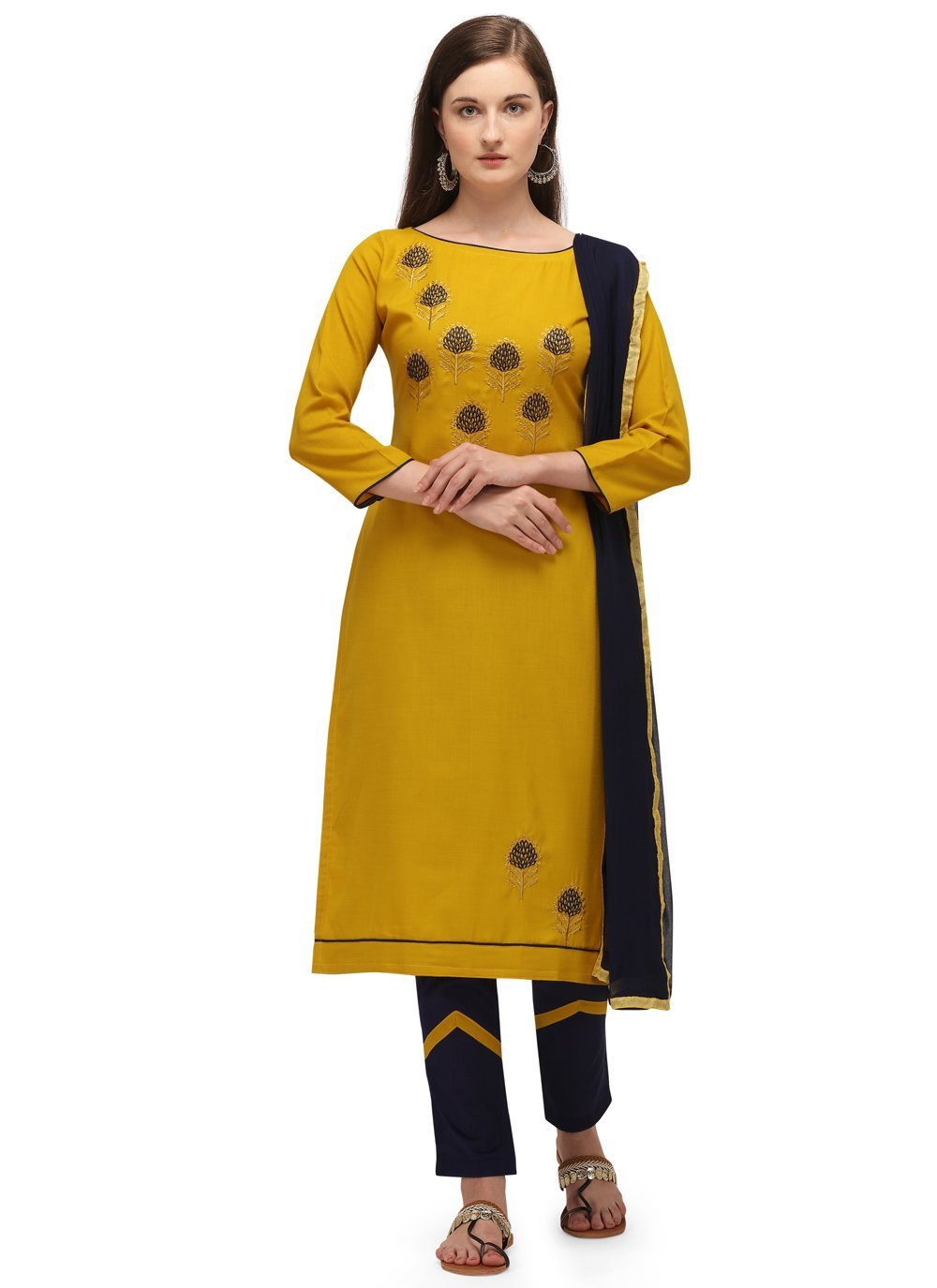 Pant Style Suit Embroidered Cotton in Mustard