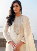 Pant Style Suit Embroidered Cotton Silk in Off White