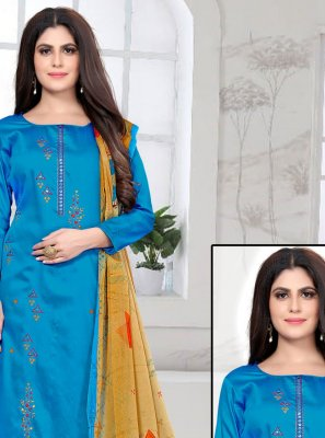 Pant Style Suit Embroidered Fancy Fabric in Blue