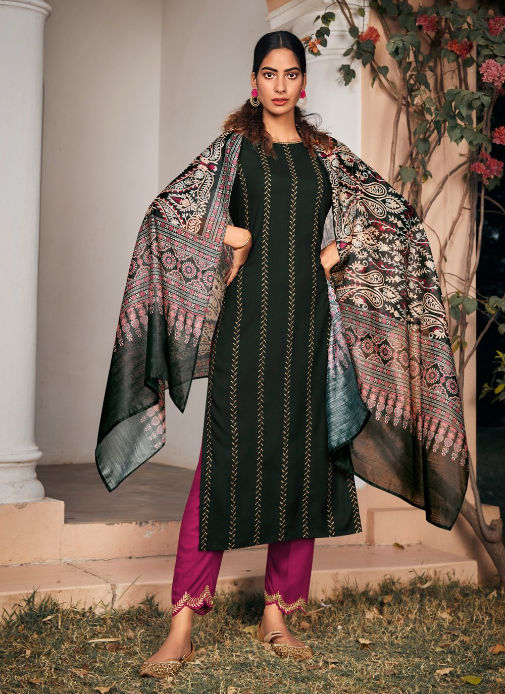 Pant Style Suit Embroidered Rayon in Green