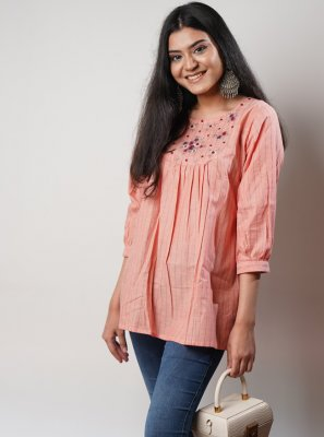 Party Wear Kurti Embroidered Cotton in Peach