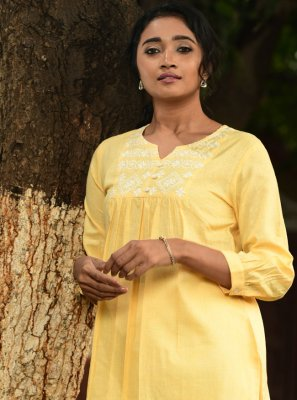 Party Wear Kurti Embroidered Cotton in Yellow