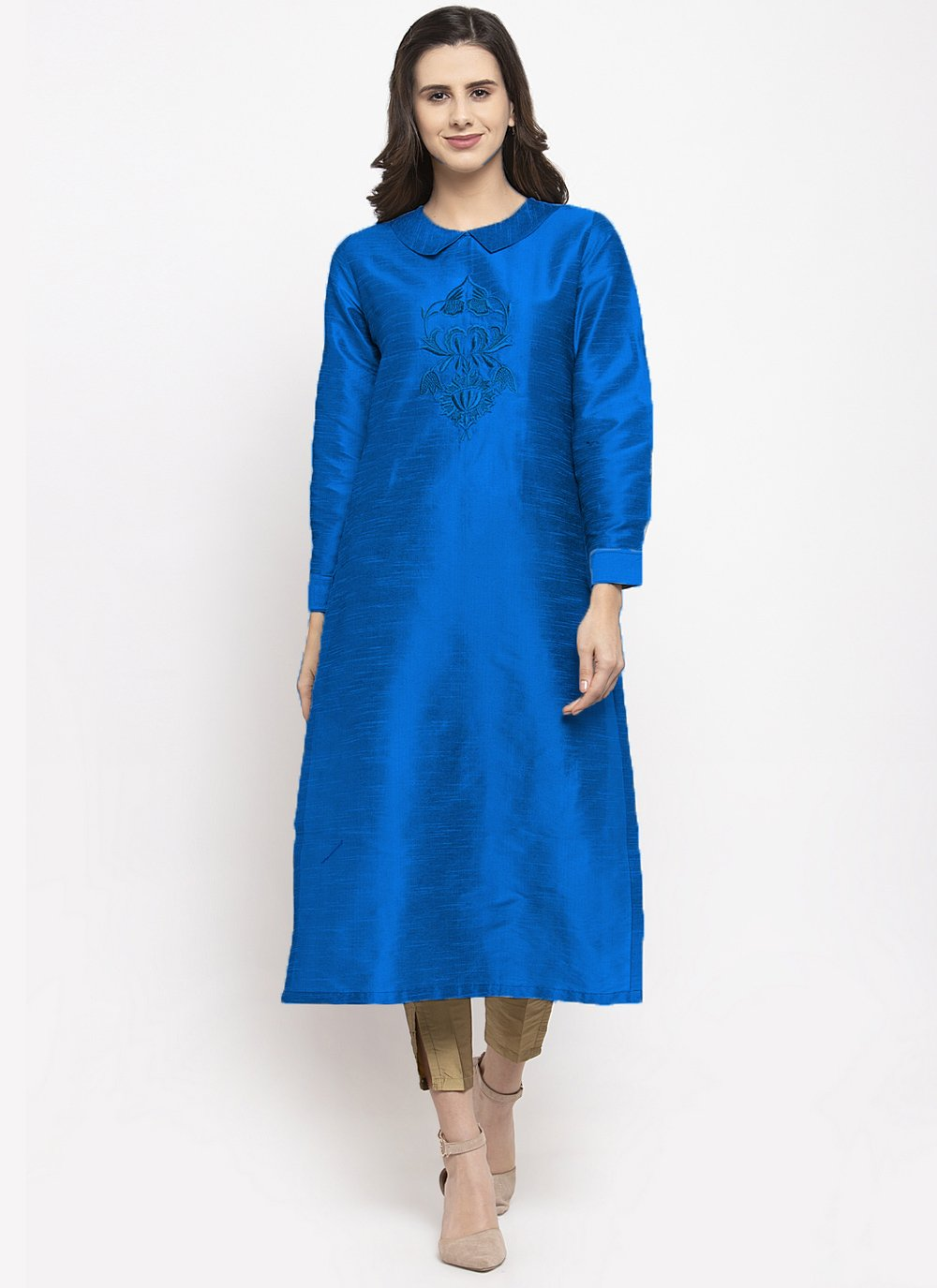 Party Wear Kurti Embroidered Dupion Silk in Blue