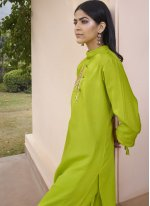 Party Wear Kurti Embroidered Fancy Fabric in Green