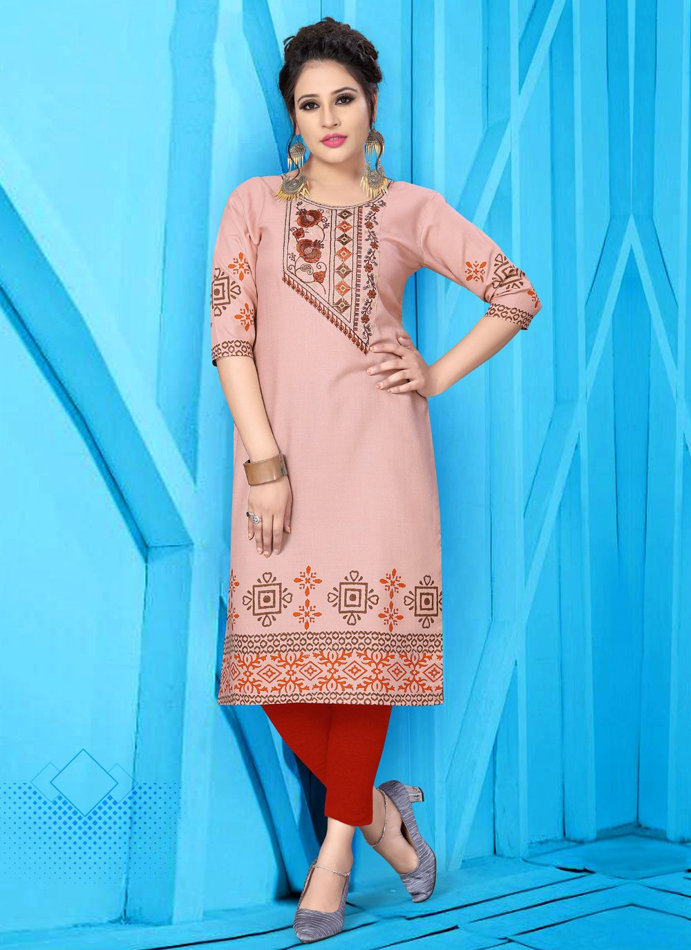 Party Wear Kurti Embroidered Fancy Fabric in Pink