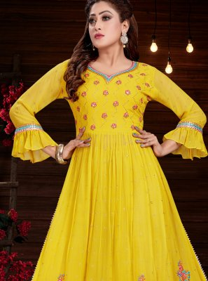 Party Wear Kurti Embroidered Georgette in Yellow