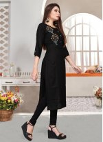 Party Wear Kurti Embroidered Rayon in Black