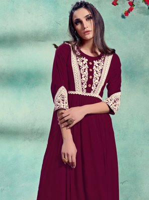 Party Wear Kurti Embroidered Rayon in Magenta
