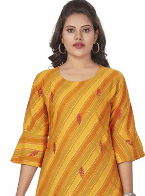 Party Wear Kurti Embroidered Rayon in Yellow