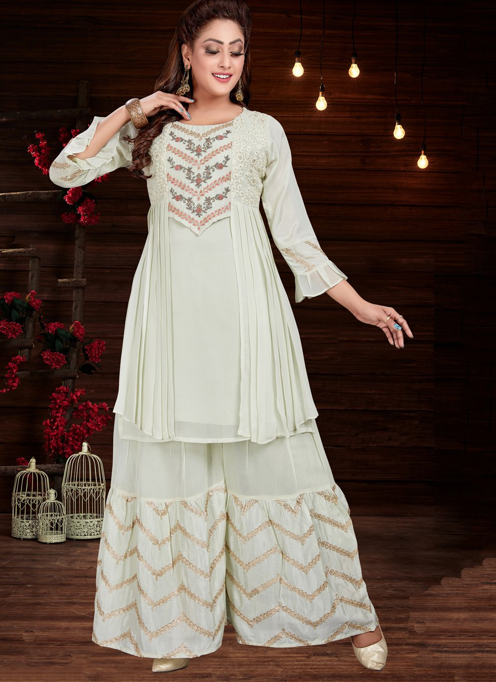 Party Wear Kurti Embroidered Silk in Green