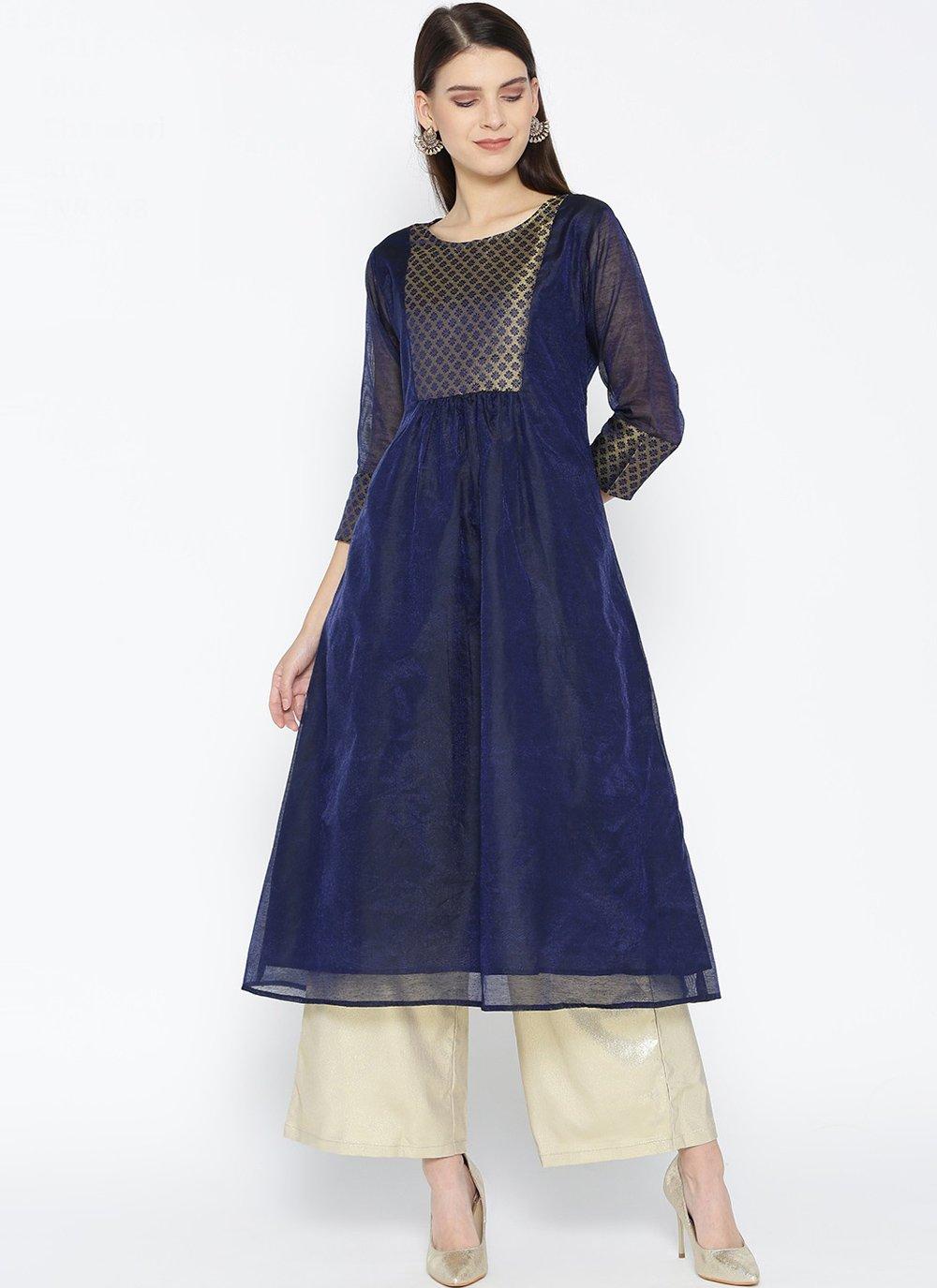 Party Wear Kurti Fancy Chanderi in Blue