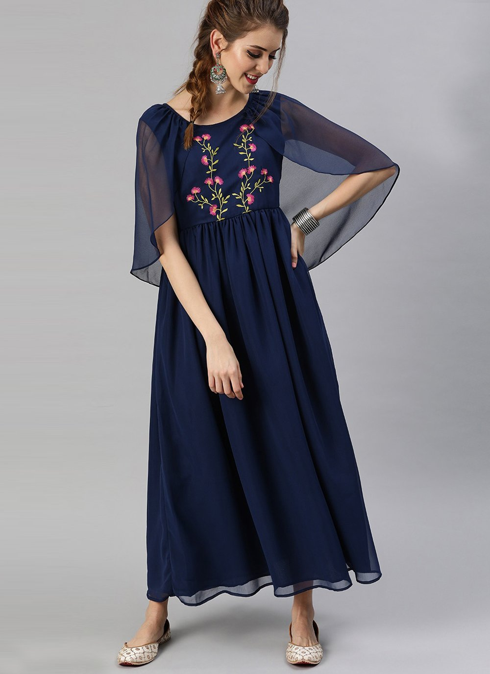 Party Wear Kurti Fancy Faux Georgette in Navy Blue