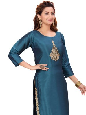 Party Wear Kurti Fancy Silk in Rama