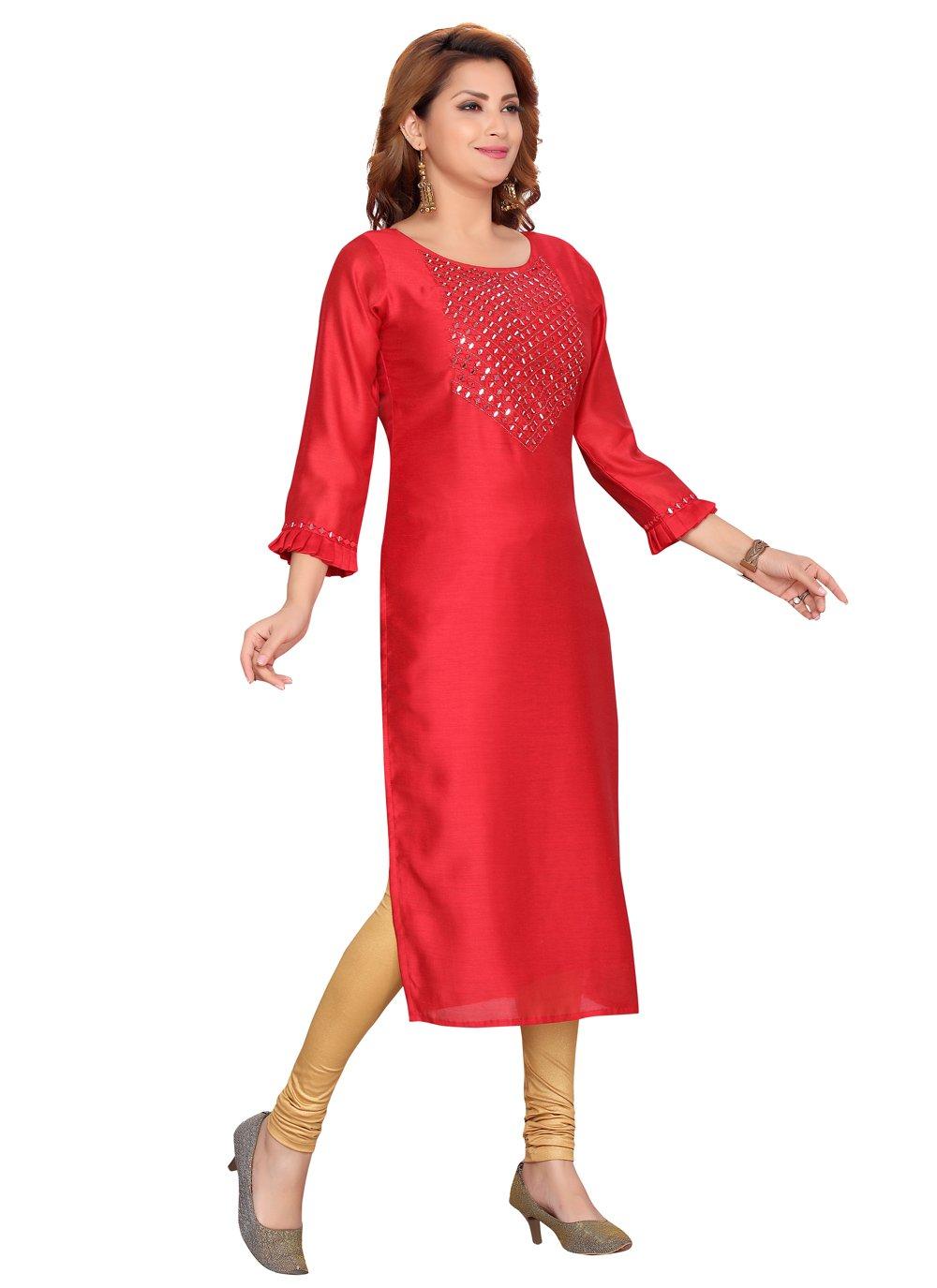 Party Wear Kurti Fancy Silk in Red