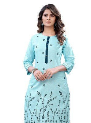 Party Wear Kurti Floral Print Cotton in Aqua Blue