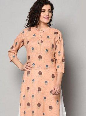 Party Wear Kurti Print Cotton in Peach