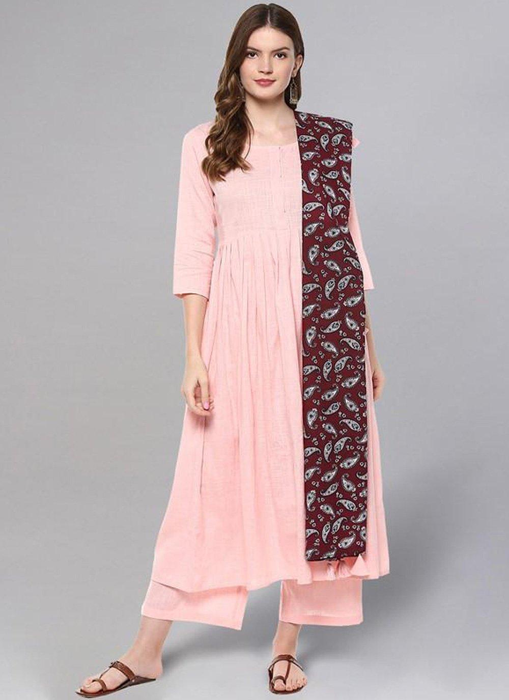 Party Wear Kurti Print Cotton in Pink