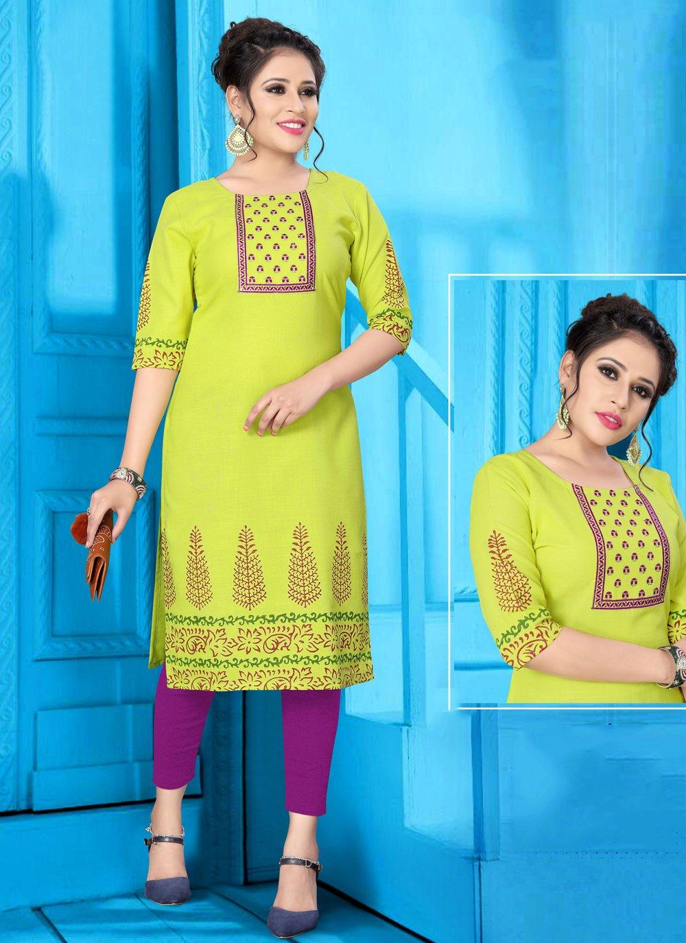 Party Wear Kurti Print Fancy Fabric in Yellow