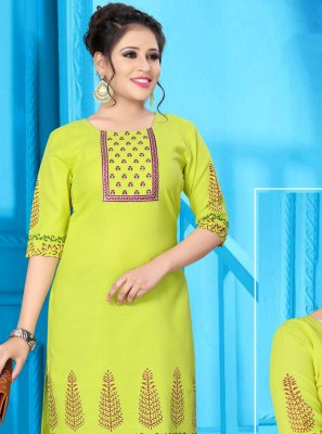 Party Wear Kurti Print Fancy Fabric in Yellow