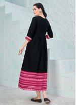 Party Wear Kurti Print Rayon in Black