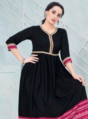 Party Wear Kurti Print Rayon in Black