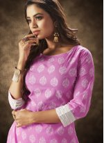 Party Wear Kurti Printed Cotton in Lavender
