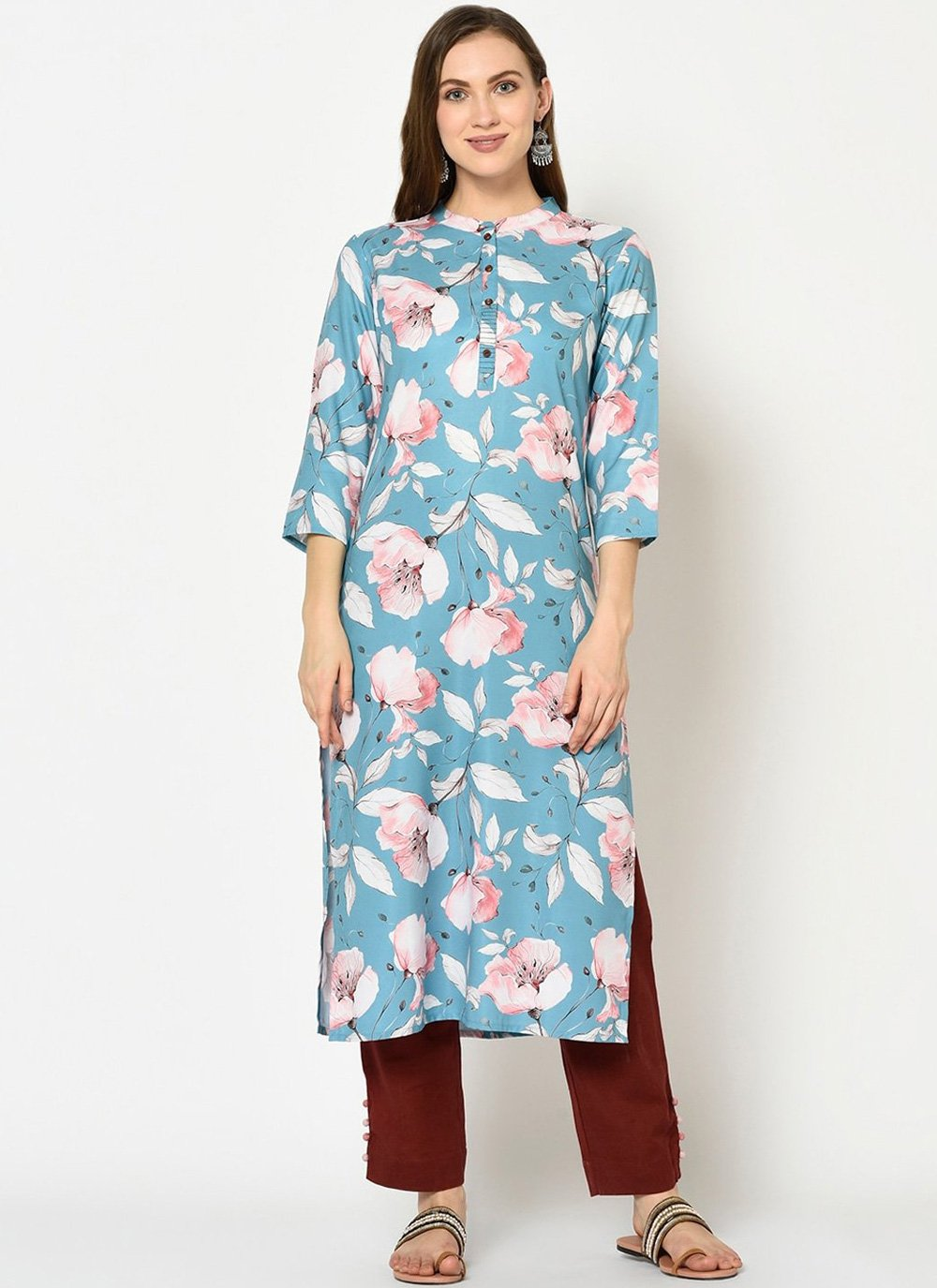 Party Wear Kurti Printed Polyester in Blue