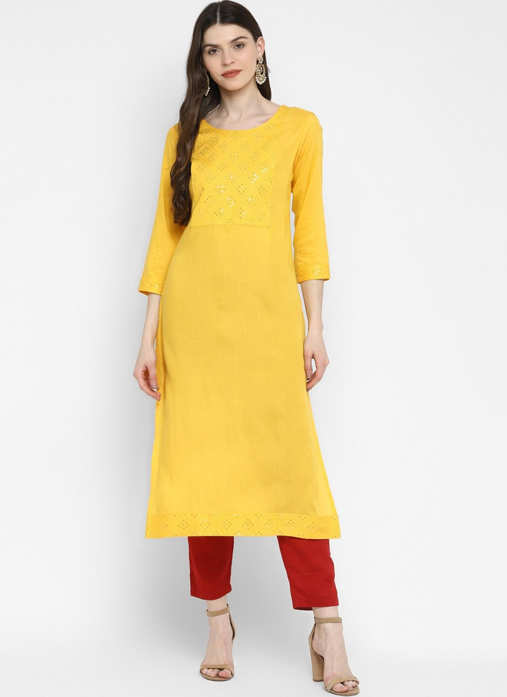 Party Wear Kurti Sequins Cotton in Yellow