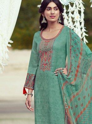 Pashmina Sea Green Embroidered Designer Palazzo Suit