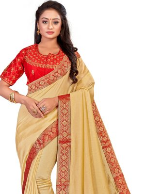 Patch Border Art Silk Designer Traditional Saree in Beige
