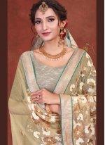 Patch Border Beige Classic Designer Saree