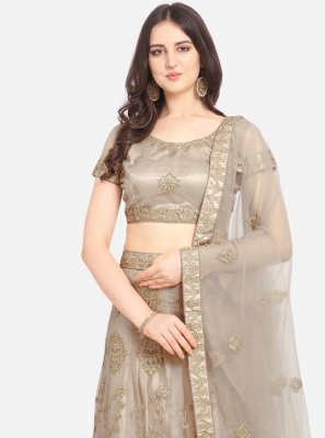 Patch Border Beige Net Lehenga Choli