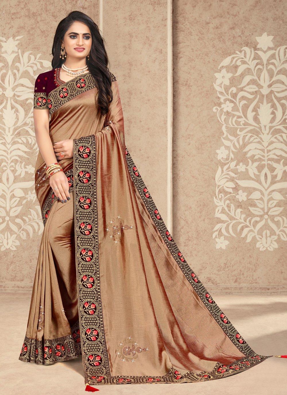 Patch Border Beige Silk Traditional Designer Saree