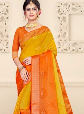 Patch Border Brasso Shaded Saree in Orange and Yellow