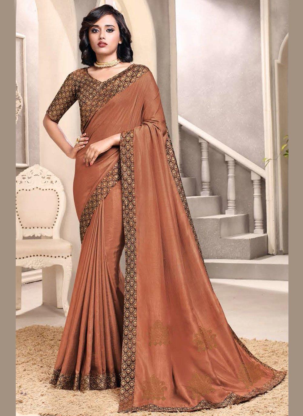 Patch Border Brown Art Silk Designer Traditional Saree