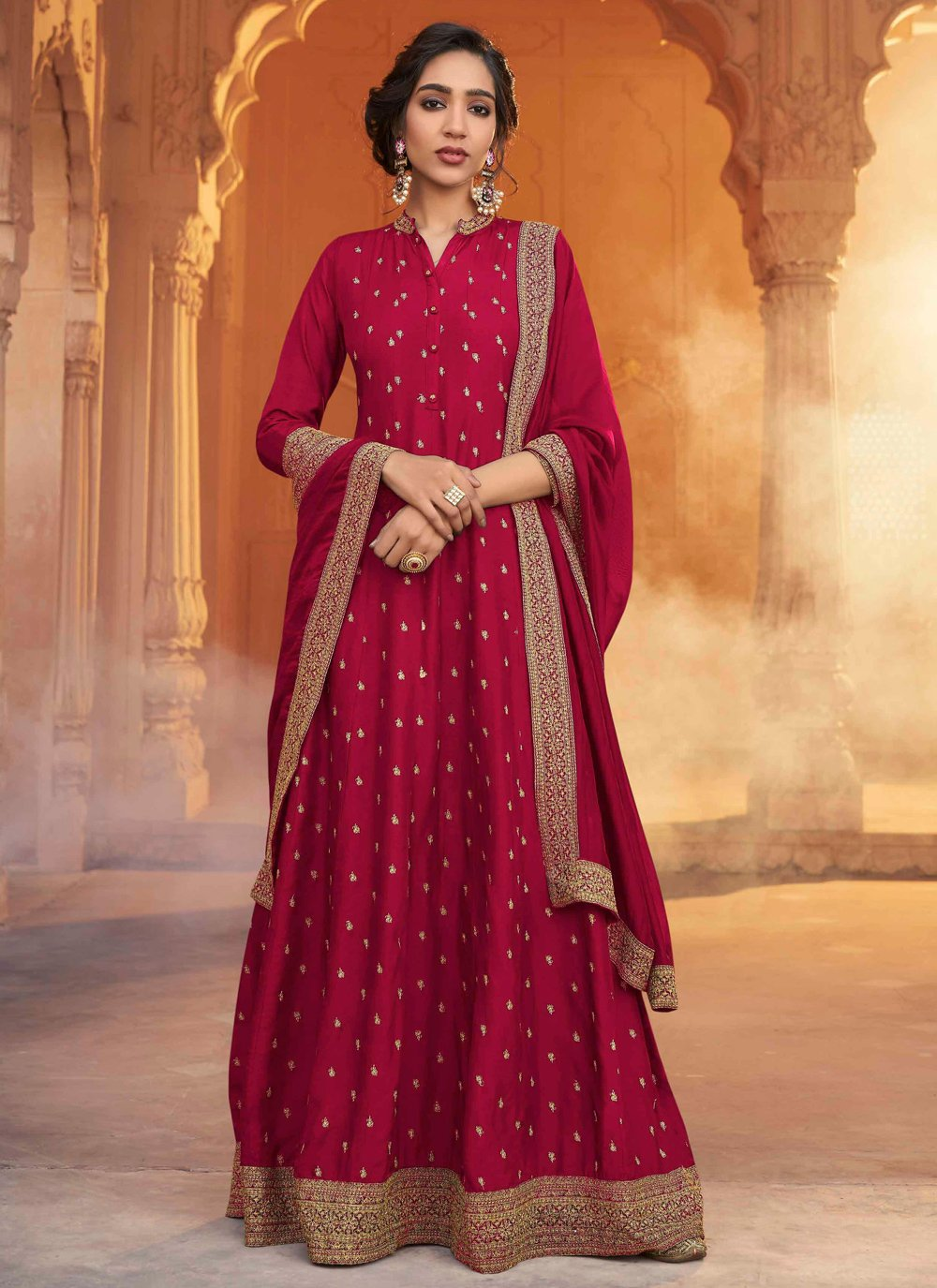 Patch Border Ceremonial Designer Floor Length Salwar Suit