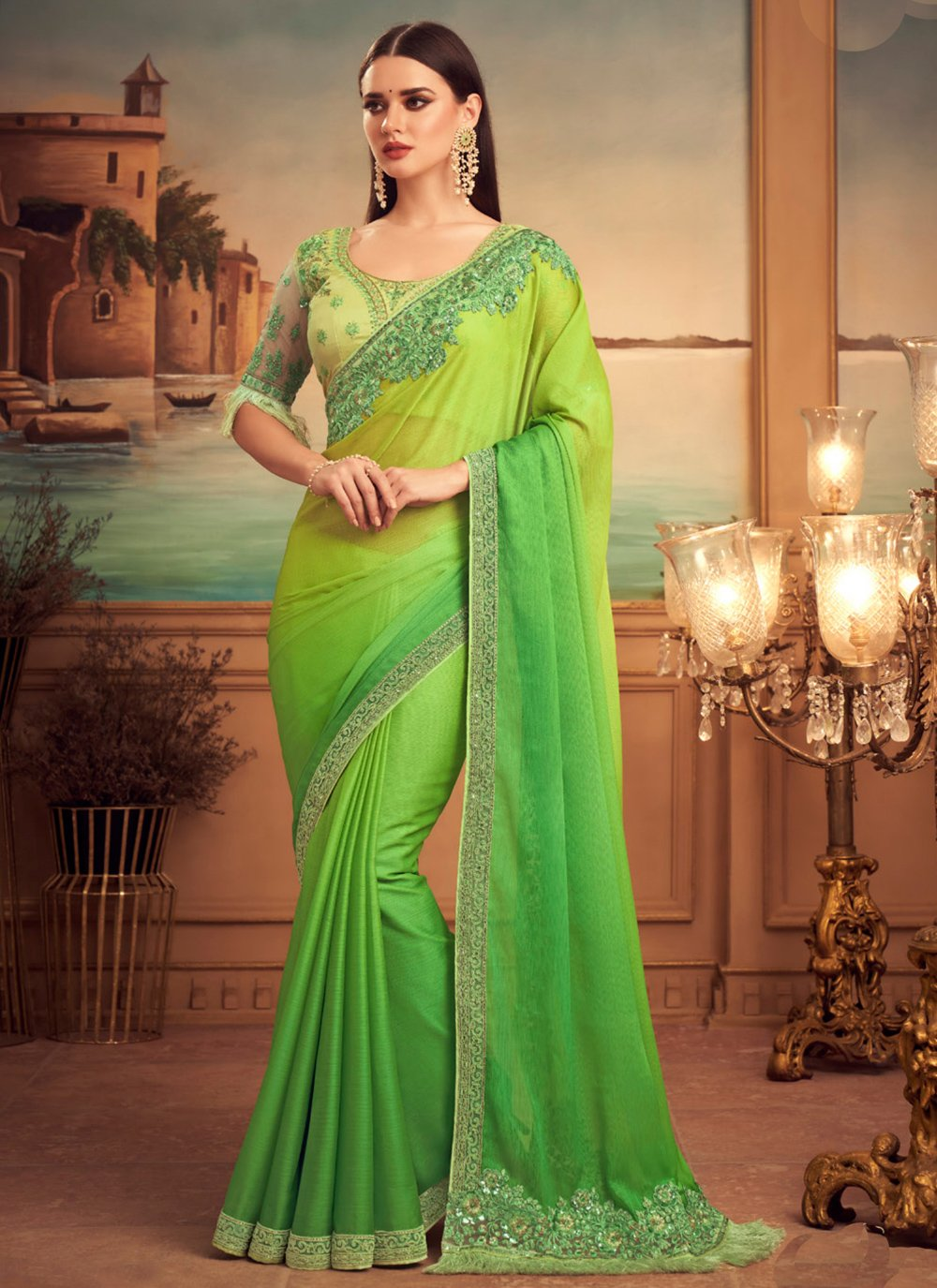 Patch Border Ceremonial Shaded Saree