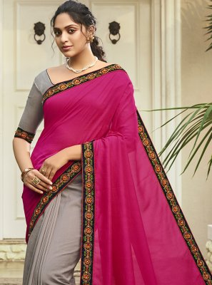 Patch Border Chanderi Designer Half N Half Saree in Grey and Magenta