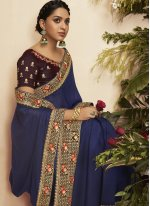 Patch Border Chanderi Designer Traditional Saree in Blue