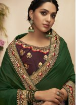 Patch Border Chanderi Green Designer Traditional Saree
