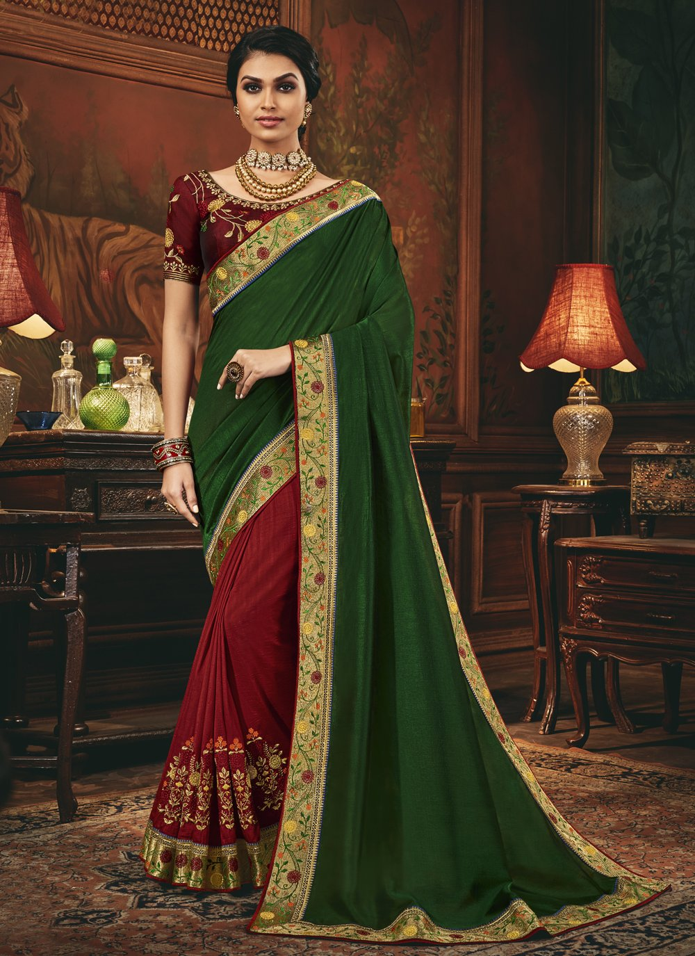 Patch Border Designer Half N Half Saree