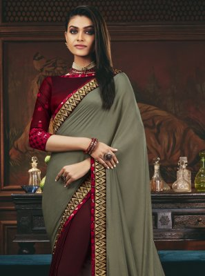 Patch Border Engagement Designer Half N Half Saree