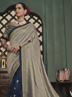 Patch Border Fancy Fabric Designer Half N Half Saree in Blue and Grey