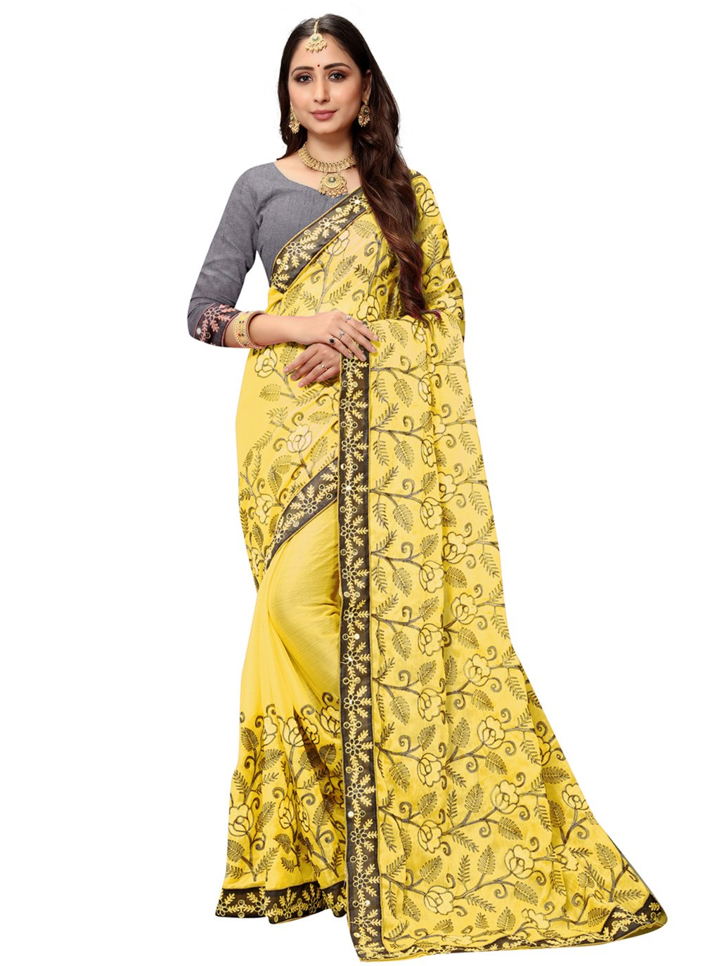 Patch Border Faux Chiffon Yellow Classic Designer Saree