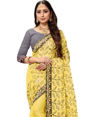 Patch Border Faux Chiffon Yellow Classic Designer Saree
