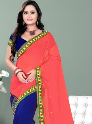 Patch Border Faux Georgette Blue and Pink Half N Half Designer Saree