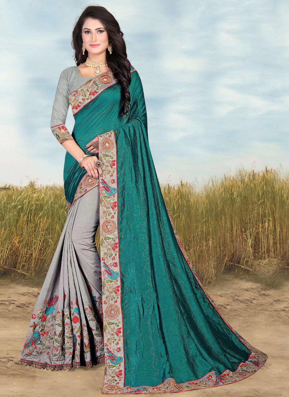 Patch Border Green and Grey Fancy Fabric Designer Half N Half Saree