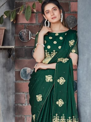 Patch Border Green Designer Saree