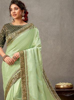 Patch Border Green Tussar Silk Designer Saree
