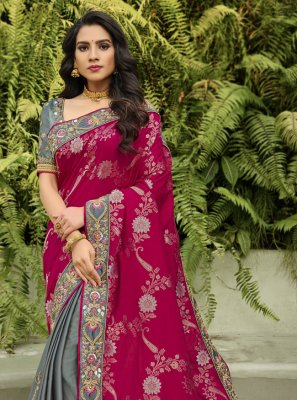 Patch Border Mehndi Half N Half  Saree